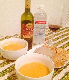 Veggie soup with mushroom pate and whole wheat crackers ( everything homemade from scratch )