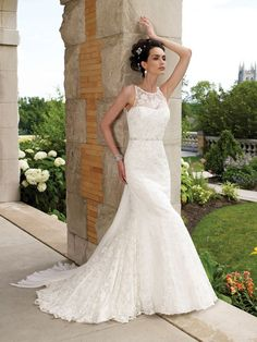 Wedding Dresses Pictures - Mermaid / Trumpet Jewel Sweetheart Natural Waist Non-Strapless Chiffon Wedding Dress - Style WD6096