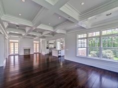 Hamptons Home - beach house - summer home - coiffered ceilings, hardwood floors, dining room, living room, kitchen, fireplace