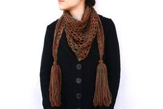 Brown Green Crochet Diamond Mesh Stole / Shawl