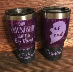 Personalized Best Friend tumbler, stainless steel double wall insulated, Friendship isn't a big thing, its a million little things. Vinyl Tumblers, Personalized Tumblers, Custom Tumblers, Short Friendship Quotes, Glitter Cups, Glitter Tumblers, Decals For Yeti Cups, Tumbler Quotes, Custom Cups