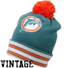 Mitchell & Ness Miami Dolphins Aqua-Orange Throwback Jersey Striped Cuffed Knit Beanie