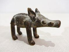African Ashanti Ghana old Cast Bronze Gold Weight Figure of a Wild Boar