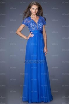 A-Line/Princess V-neck Floor-length Chiffon Lace Evening Dresses - IZIDRESSBUY.com at IZIDRESSBUY.com