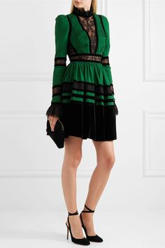 Elie Saab - Lace And Velvet-paneled Pleated Crepe Mini Dress - Forest green