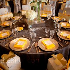 Yellow place settings // Collins Metu Photography // http://www.theknot.com/weddings/album/a-modern-wedding-in-houston-tx-85262