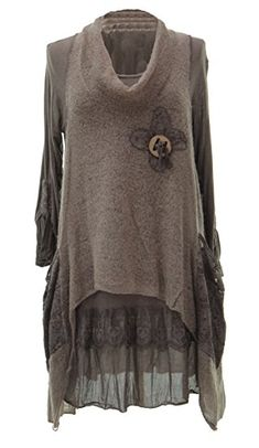 TEXTURE ONLINE Ladies Womens Italian Lagenlook Quirky Layering 2 Piece Long Sleeve Knitted Cowl Neck Mohair Wooden Button Tunic Dress Curve One Size Plus 12-20 (One Size Plus, Dark Brown): Amazon.co.uk: Clothing