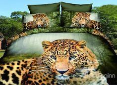 Leopard Crouching in Forest Design Polyester 4-Piece Duvet Cover Sets #3d #bedroom #bedding