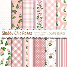 Shabby Chic Digital Paper SHABBY DUST PINK by DigitalStories, €2.60