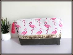 Trousse à maquillage toile de coton gris motif flamant rose de la boutique…