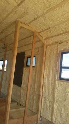 spray foam insulation, bus conversion, denver, colorado, charles kern, skoolie, tiny house, DIY, build your own home, tiny home, HGTV, dakota hills, international school bus