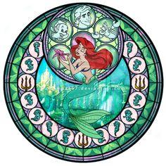 Princess Ariel - Kingdom Hearts Stain Glass Circle by reginaac57.deviantart.com on @deviantART