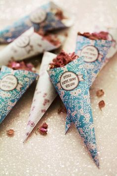 inspiration | dried rose petals in cones to toss | via: brides magazine