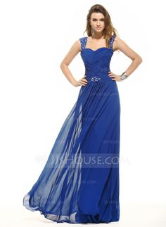 A-Line/Princess Sweetheart Floor-Length Chiffon Evening Dress With Ruffle Beading (017016054)