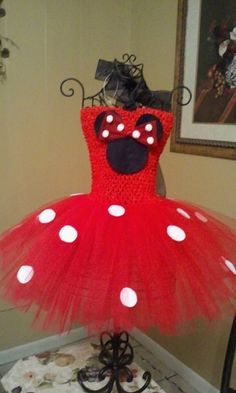 Minnie Mouse Tutu Dress/Pink or Red/Birthday by NVTutusBoutique, $30.00