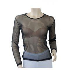 Top résille noir manches longues : un basique indispensable qui se glisse sous vos robes ou tuniques sans manches.