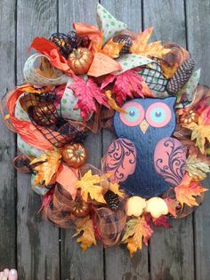 BRIGHT EYES OWL Fall wreath with orange by TheLemonadeBoutique