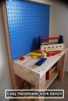 Woodworking For Kids The Dragons Fairy Tail: Easy Handmade Kids Workbench Kids Workbench, Woodworking Workbench, Garage Workbench, Workbench Stool, Folding Workbench, Woodworking Shop, Woodworking Projects For Kids, Woodworking Crafts, Kids Tool Bench