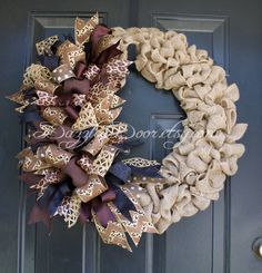 Burlap Wreath with Whimsical Bow Leopard Ribbon by DazzleaDoor