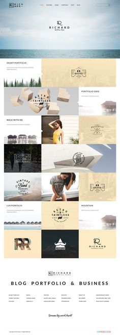 Interesting tiled grid mixing photos and typography. #design