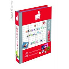 Janod magnetic alphabet letters puzzle book box for children available online UK.   Spotty Giraffe