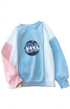 Shop Fresh Color Block NASA Print Pullover Sweatshirt - - up to off, discover more dicountGirls' Fashion Hoodies & Sweatshirts online now. Ropa Color Pastel, Style Pastel, Pastel Goth, Pastel Fashion, Kawaii Fashion, Hoodie Sweatshirts, How To Wear Hoodies, Nasa Clothes, Mode Kawaii