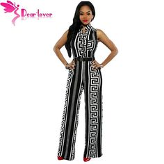 40056018676 Wide Leg Women Black Print Gold Belted Ladies Jumpsuit Rompers Women