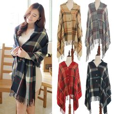 This scarf is highly recommended! Featuring plaid print design with tassel trim and button through front fastening, you can keep warm and comfortable in this super soft scarf while standing out in cold days. Come and choose one!