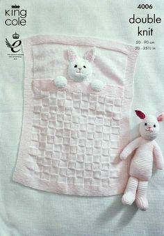 K4006 Babies Bunny Rabbit Pram Blanket and by KnittingPatterns4U