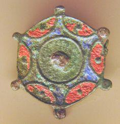 Fibula from the Second century,(from a Roman settlement in Holland) Looks like enamel. http://allardpiersonmuseum.nl/english/