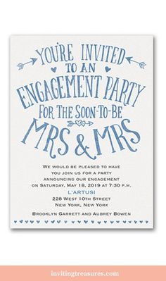 Blue and white engagement party invitations Engagement Brunch, Engagement Party Planning, Engagement Party Decorations, Engagement Party Invitations, Engagement Gifts, Engagement Parties, Engagement Photos, Wedding Engagement, Engagement Photography