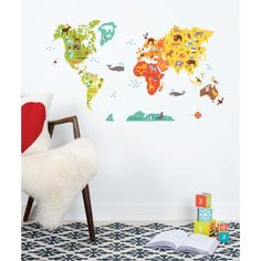 Petit Collage | World Fabric Wall Decal. It's removable and reusable!