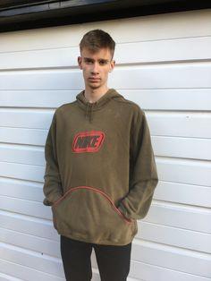 Men's vintage Nike hoodie Nike hoody Khaki green red oversize oversized Sportswear sweatshirt jumper top 80s 90s y2k style