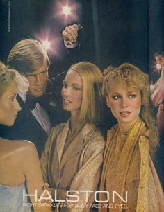 Halston in the 1970s often produce spandex skirt, shiny! Halston (1932-1990) was an American fashion designer of the 1970s. His long dresses or copies of his style were popular fashion wear in mid-1970s discotheques.