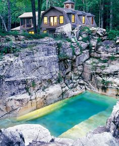 Is this quarry the most beautiful backyard pool in America? We think it just might be. Here's the fascinating story of how it came to be: http://homes.yahoo.com/blogs/spaces/quarry-most-beautiful-backyard-pool-america-181744493.html