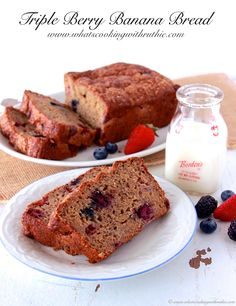 "Triple Berry Banana Bread is a ""skinny"" recipe that's packed with flavor! by www.whatscookingwithruthie.com   #recipes #bread #banana"