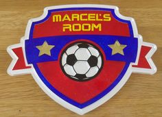 Personalised Acrylic Football Themed Children's Bedroom Door Name Sign by…
