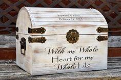 Distressed Wedding Card Box - Keepsake Chest - Card Box for Wedding - Personalized Wedding Card Holder - Rustic Wedding Decor