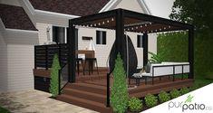 Design personnalisé d'un patio Azek Vintage Mahogany avec pergola en cèdre, mur d'intimité, rangement, spa et bar en PVC intégré. Pool Deck Plans, Backyard Plan, Backyard Patio Designs, Backyard Projects, Deck Yard Ideas, Patio Ideas, Outdoor Spaces, Outdoor Living, Modern Patio Design
