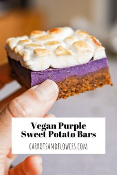 Save time in the kitchen with these INCREDIBLE purple vegan sweet potato bars. They are a beautiful side dish and dessert rolled into one! Healthy Vegan Desserts, Delicious Vegan Recipes, Vegan Food, Holiday Side Dishes, Holiday Desserts, Vegan Marshmallows, Potato Bar, Purple Sweet Potatoes, Vegan Thanksgiving