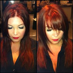 Before and after #redhead #bangs #Davines #flamboyage by Melissa Day