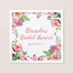 Vintage Floral Pink Personalized Bridal Shower Napkin - floral bridal shower gifts wedding bride party