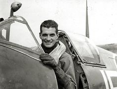 "Squadron Leader Edgar ""Johnnie"" Johnson, RAF, in the cockpit of has Supermarine Spitfire. Johnson was the highest scoring Allied fighter pilot of World War II. He flew 515 sorties and scored 34 airplanes destroyed, 7 shared destroyed, 3 probables and 10 damaged. All of his victories were against fighters."