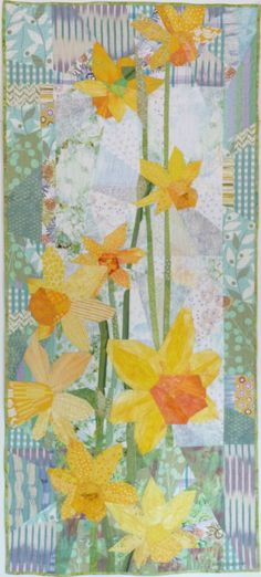 "Daffodills 2, 28"" x 61.5"" by Ruth B. McDowell. 2014 Machine Pieced, Machine Quilted, Cotton Fabrics, Cotton Batting."