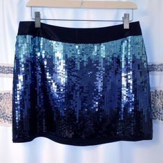 """NWT Express Ombré Sequin Mini Skirt  FIRM $!! NWT Express Sequin Mini Skirt Size 6 Ombré blue 14"""" from top to bottom in front! 15"""" from top to bottom in back!Brand new, never worn! NO missing, loose sequins, or flaws!! Perfect!! Fully lined Satin waist band  Side zipper & hook closureHas Extra sequins! Pics don't do this skirt justice! ⚠️Price is firm on this beauty!⚠️  From a smoke free home! PP Express Skirts Mini"""