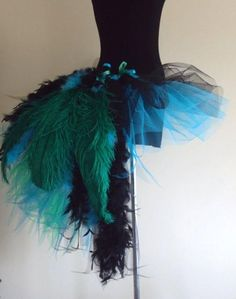 Black Turquiose Green TuTu Skirt Feathers