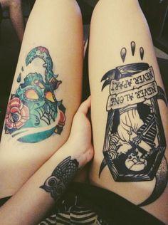 The amity affliction - Never Alone tattoo Skeleton Tattoos, Leg Tattoos, Tatoos, Dream Tattoos, Future Tattoos, Bioshock, Coffin Tattoo, Punk Tattoo, Tattoo Art
