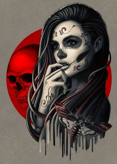 Sugar Skull Mädchen, Sugar Skull Girl Tattoo, Sugar Skull Artwork, Girl Skull, Sugar Skull Drawings, Sugar Skull Wallpaper, Sugar Skull Design, Chica Gato Neko Anime, Catrina Tattoo