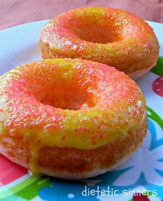 Pink Lemonade Cake Donuts Recipe ~ Yummy! Says: These don't come out dense like traditional cake doughnuts but light and fluffy like a cupcake... Best part, They're baked not fried!