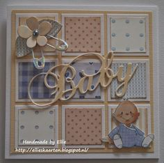 change out baby to an animal.have the baby die and clothes pins.also have a crawling baby stamp Baby Boy Cards Handmade, New Baby Cards, Baby Scrapbook, Scrapbook Cards, Tarjetas Pop Up, Beautiful Handmade Cards, Baby Shower Cards, Card Sketches, Paper Cards
